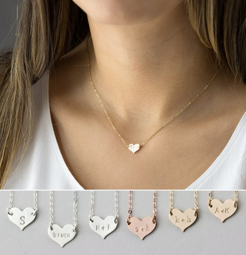 57c909656 Small Heart Necklace Dainty Personalized 14k Gold Fill   Etsy