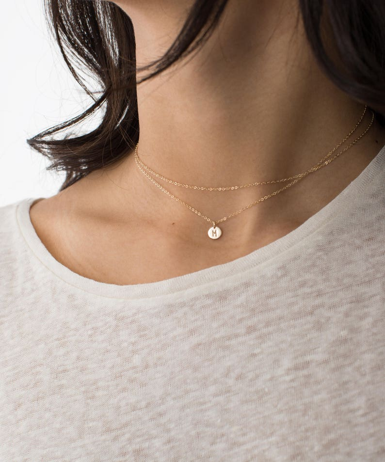 2-in-1 Dainty Wrap Necklace with Tiny Initial  Custom image 0