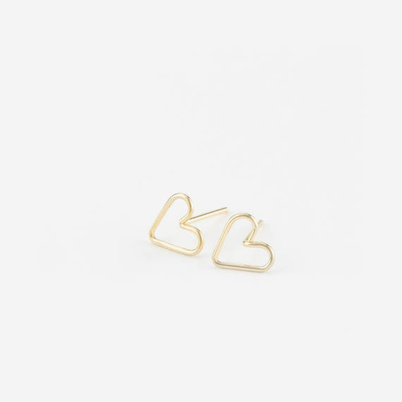 Heart Wire Stud Earrings, 14k Gold Filled Earring Sterling Silver Rose Gold Simple Gold Earrings Elegant, Minimal Layered And Long Le426 by Etsy
