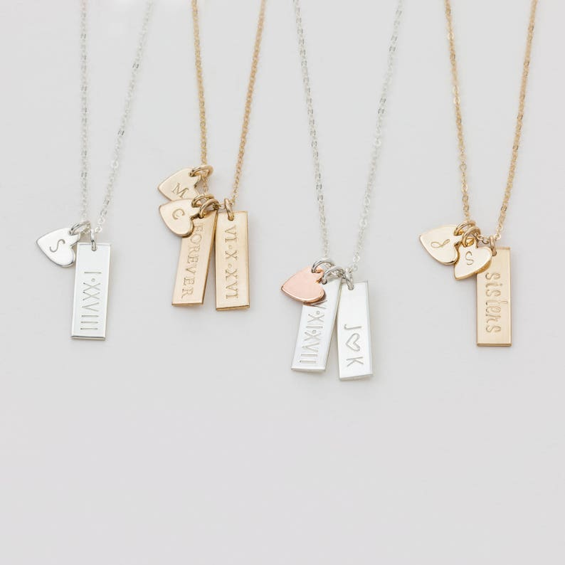 8ad3fefd4ac7f Personalized Small Tag Necklace / Simple Initial Heart Necklace, Multiple  Tag Necklace Gold Fill, Sterling Silver, Rose Gold LN155_16_V.ht