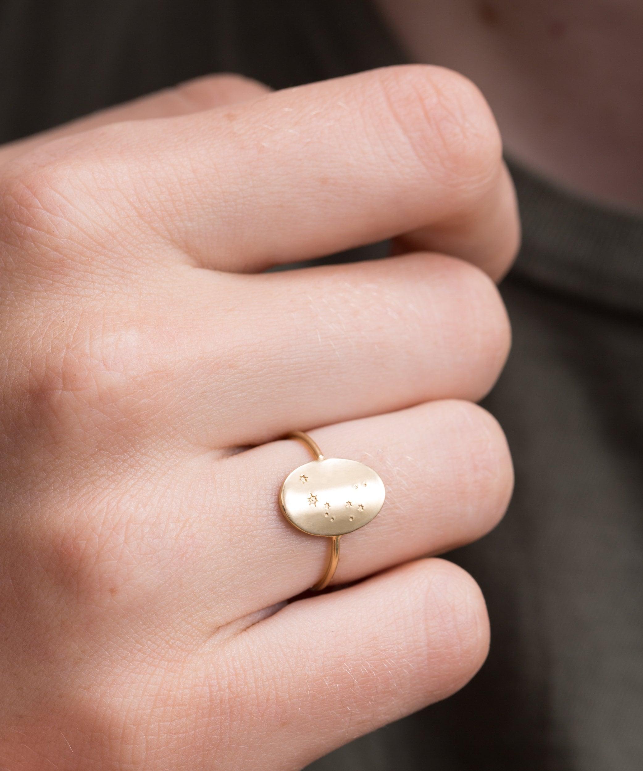 Zodiac Constellation Ring Oval or Disk Ring Custom Hand | Etsy