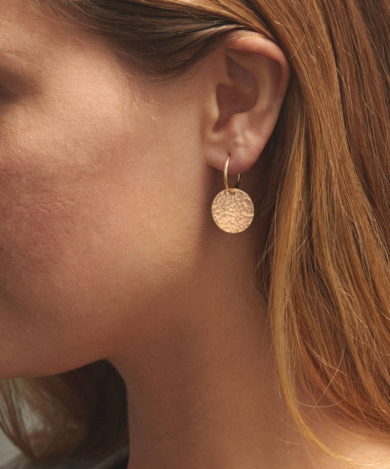 cdbfdcb8e Simple Hammered Disk Endless Hoops Earrings 14k Gold Fill | Etsy