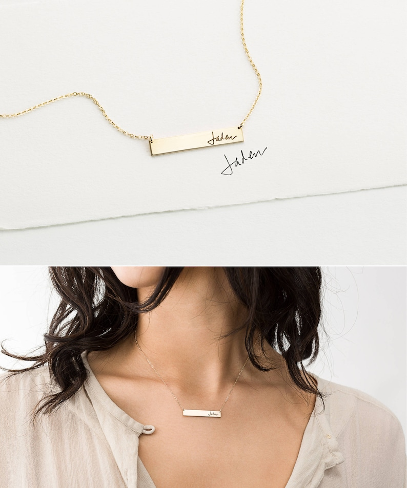 a6ca9fcb86313 Actual Handwriting Bar Necklace or Bracelet, Custom Signature Necklace •  Personalized Gold, Silver or Rose Gold Name Bar Necklace • LZ155_32