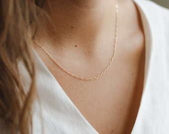 Mini Paperclip Chain Necklace • Everyday Layering Chain • Gold & Silver • GNC_0019