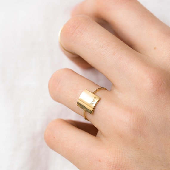 Personalized Statement Ring Custom Initial Ring Etsy