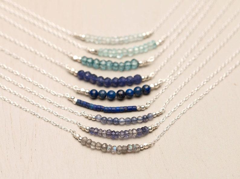 Gemstone Bar Necklaces Sterling Silver Delicate 14k Gold image 0
