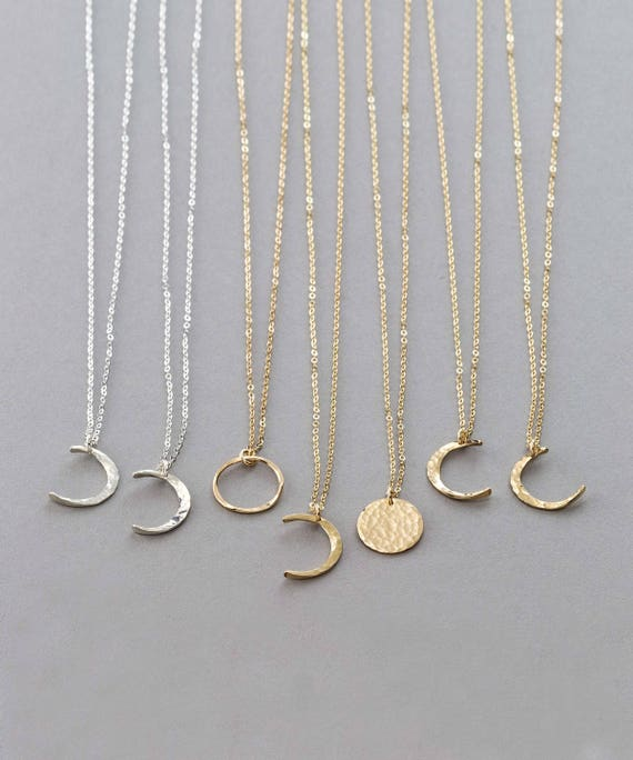 Dainty moon phase necklaces simple moon necklace crescent etsy image 0 aloadofball Images