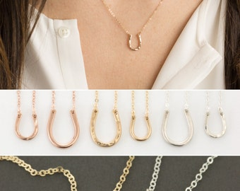 Tiny Horseshoe Necklace on Dainty, Delicate Chain - 14k Gold Filled, Rose or Sterling Silver - LN119