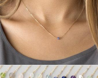 Simple Birthstone Necklace - Everyday Dainty Chain - Natural Gemstone - Amethyst, Opal, Garnet, Peridot - LN630