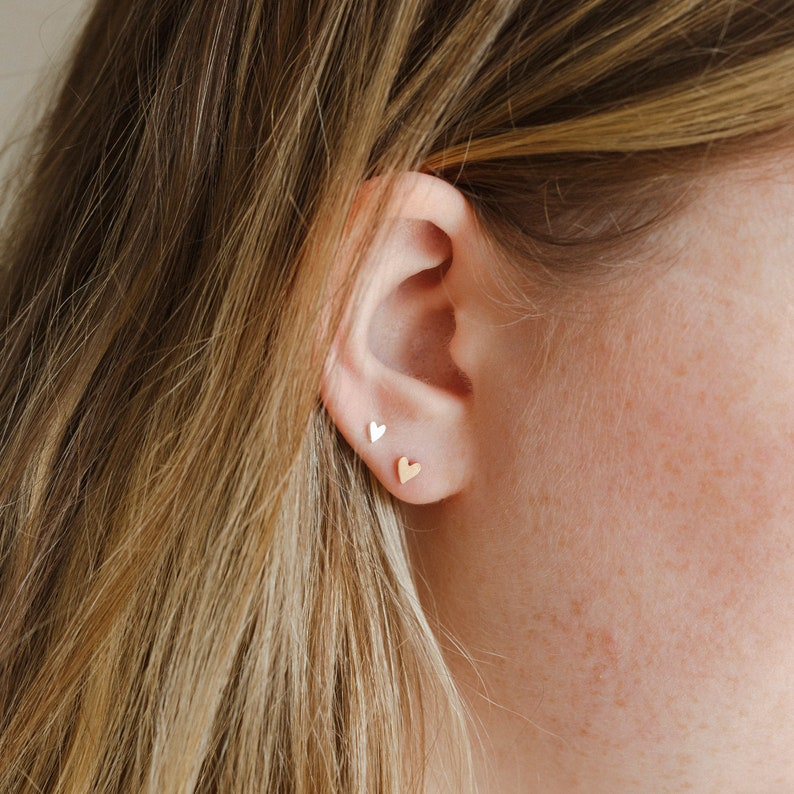 Tiny Heart Stud Earrings / 14k Gold Filled or Sterling Silver image 0