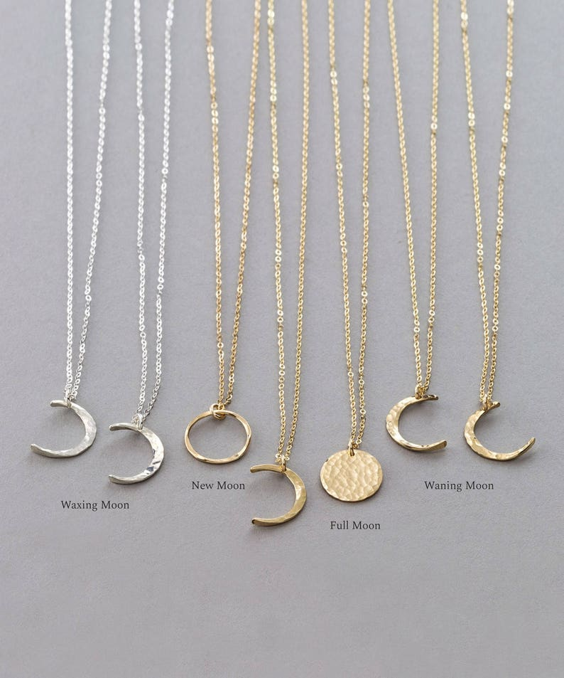 Full Moon \u2022 14k Gold Fill Dainty Moon Phase Necklaces \u2022 Simple Moon Necklace \u2022 Crescent Moon Rose Gold LN116 Sterling Silver New Moon