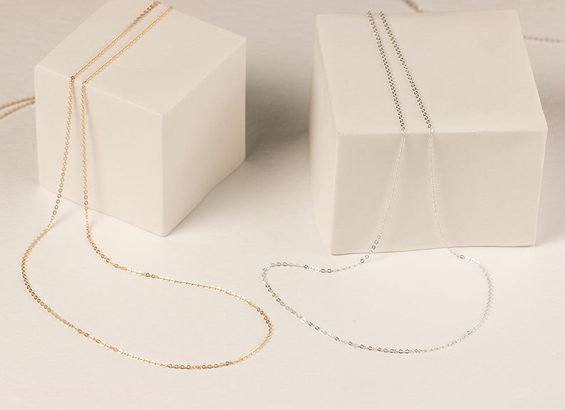 Delicate Thin Chain Necklace / Ultra Dainty Layering Necklace image 0