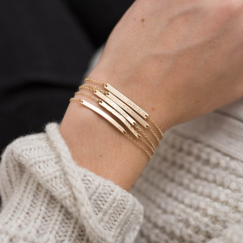 Personalized Bar Bracelet in Gold Silver or Rose.  Dainty image 0