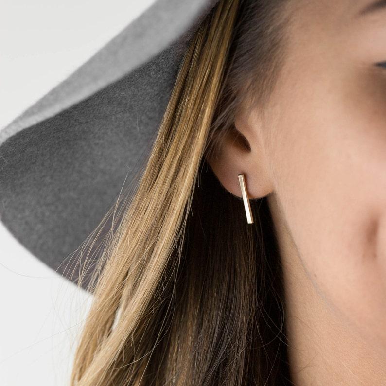 8f164fb11 Bar Stud Earrings 14k Gold Filled Earring or Sterling Silver | Etsy