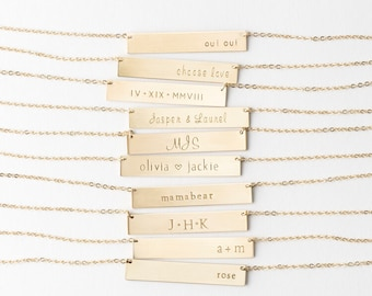 Personalized Bar Necklace - Custom, Hand Stamped Inscriptions for Special Gifts - LN155_32