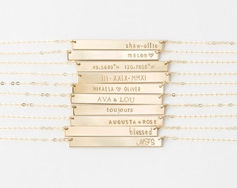 Personalized, Custom Name Necklace - The Perfect Bar Size - 14k Gold Fill, Silver, Rose Gold - LN140_35_H