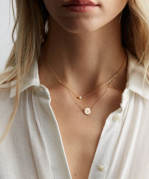 15 Chain Initial Necklace Square Necklace Monogram Necklace Personalized Layered Necklace Set Egg Shaped Necklace