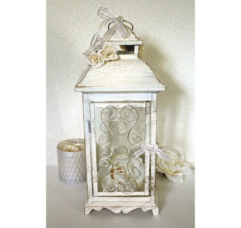 Wedding 16in Lantern Centerpiece Vintage Antique Ivory Gold Etsy