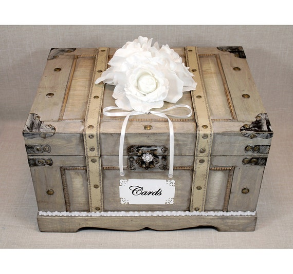 Wooden Wedding Card Box Trunk Vintage Shabby Chic Wedding Decor Neutral With White Pearl Silver Rustic Card Holder Wooden Money Box
