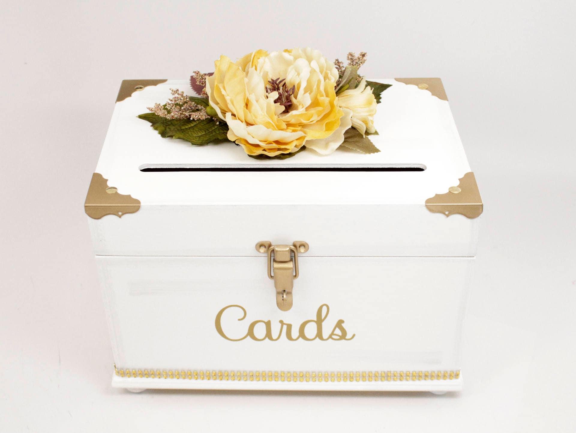 White Gold & Yellow Wedding Card Box Trunk Vintage Glamorous