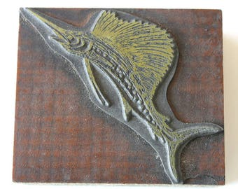 Vintage Sailfish Letterpress Printers Cut of a Billfish Printers Block