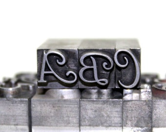 4548384fdbc Vintage Letterpress. Script Metal Type Letters. 18 Pt. Typography. Choose  your letters. Clay Stamps.