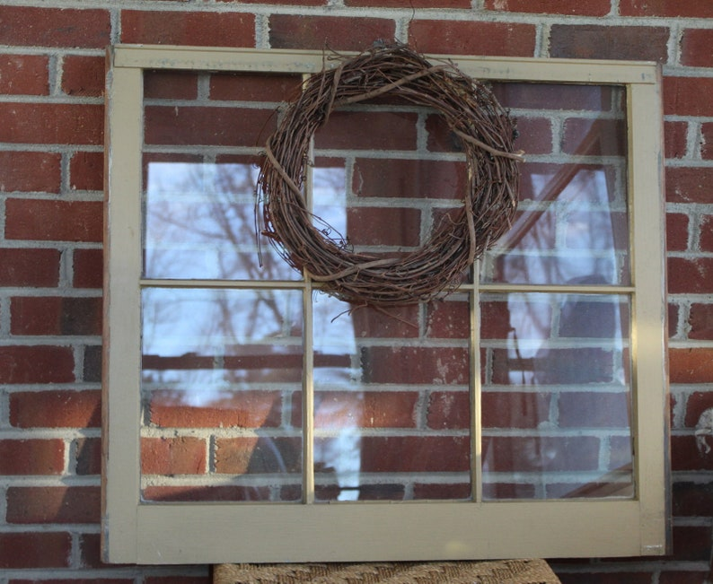 Vintage Wooden Old Window Frame With Glass. Salvaged Window Frame 6 Sash  Panes. Farmhouse Window.