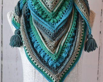 Textured Tassel Triangle Scarf/Shawl Crochet Ready to Ship