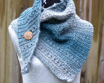 Teal and Silver Asymmetrical Triangle Scarf/Shawl Crochet Ready to Ship