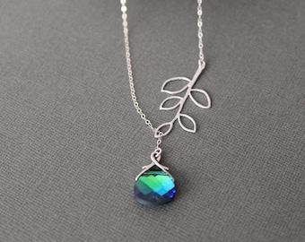 Aqua Green Sphinx Swarovski Briolette and Branch Lariat Necklace in STERLING SILVER CHAIN---Bridesmaids Gift Perfect Gift Birthday present