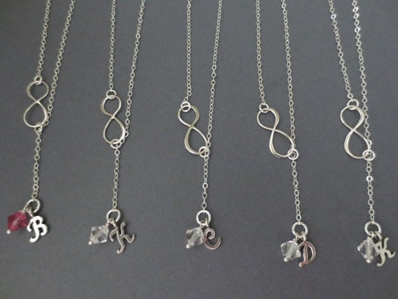 Lariat Necklace Friends Forever Charm Sterling Silver 5 sets of Necklace Bridesmaid Birthstone Jewelry Set Infinity Chain Necklace
