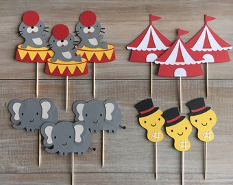 Circus Cupcake Toppers. Circus Themed Birthday Party.