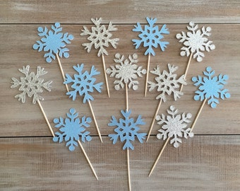 Glitter Snowflake Cupcake Toppers. Frozen Cupcake Toppers. Frozen Birthday Party.