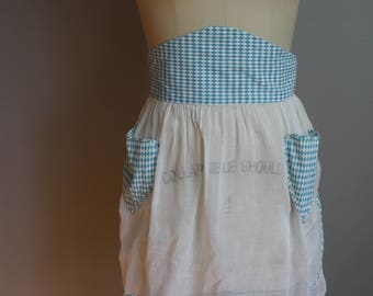 1950's Apron // Sheer with Blue Diamond Print //