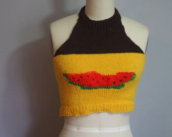 1970 Knit Watermelon Halter // Small