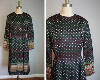 1970s Pauline Trigere Silk A-Line Dress // Allover Square Pattern // Medium