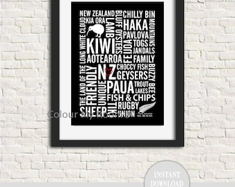"CELEBRATE NEW ZEALAND Subway Style 8x10"" Printable Home Decor Wall Art Print Kiwi nz Maori Aotearoa Instant Download"