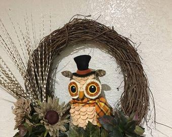 Grapevine Wreath  with Owl Decor