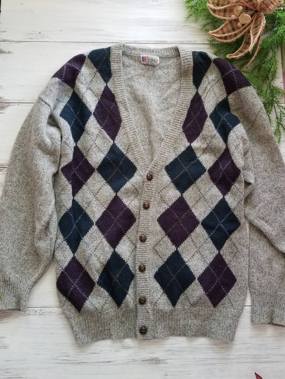 Royal Scott Pure Shetland Wool Argyle 1XLT Cardiga