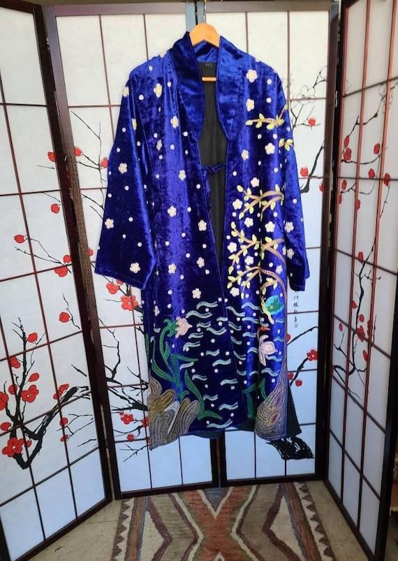 Embroidered Peacock Kimono One Size