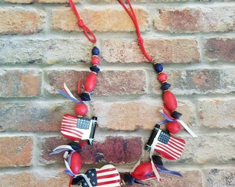 Patriortic American Flag Necklace 4th of July