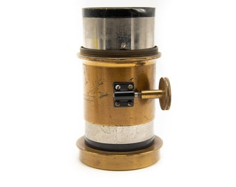 "Vintage Brass Lens, F4.6, 9"" Petzval lens Focal Length Lens, Vintage Camera Lens, Vintage Camera, Repairs and Parts L1161-3DU"