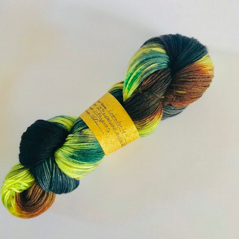 Fingering Weight Yarn Crystal Inspired Flash Yarn Labradorite Hand Dyed Sock Yarn Neon Yellow Teal Navy Brown Black Hand Painted Wool