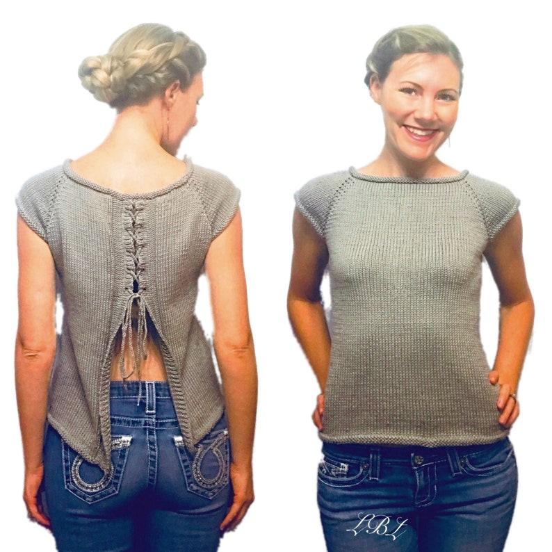 31a0c8e082e02 PATTERN: Sincerely Amanda Top Knitting Pattern, Split Lace Up Back Raglan  Sweater Knit Pattern, Rustic Tee with Lace Down Open Back Pattern