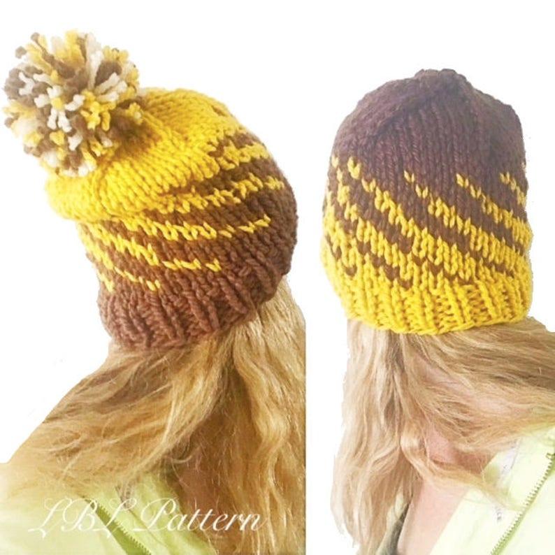PATTERN  Gradient Spiral Beanie Fair Isle Hat Knitting  22acbfa09dbb