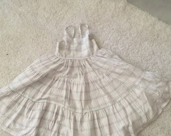Rockabilly Baby Pale Pink and Blue Box Stripe Party Dress - Size 5