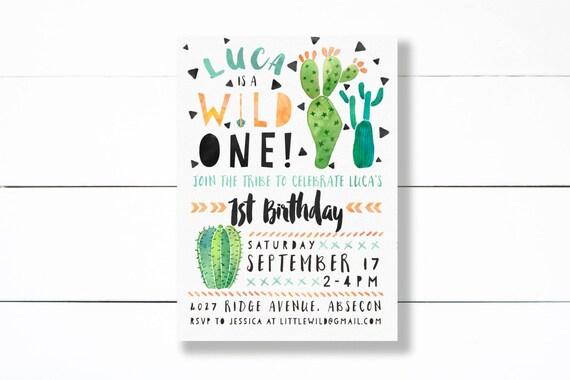 wild one birthday invitation tribal first birthday party etsy