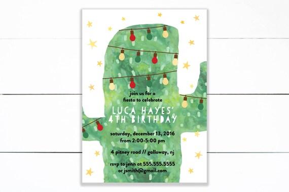 Christmas Cactus Fiesta Birthday Invitation Feliz Navidad Etsy
