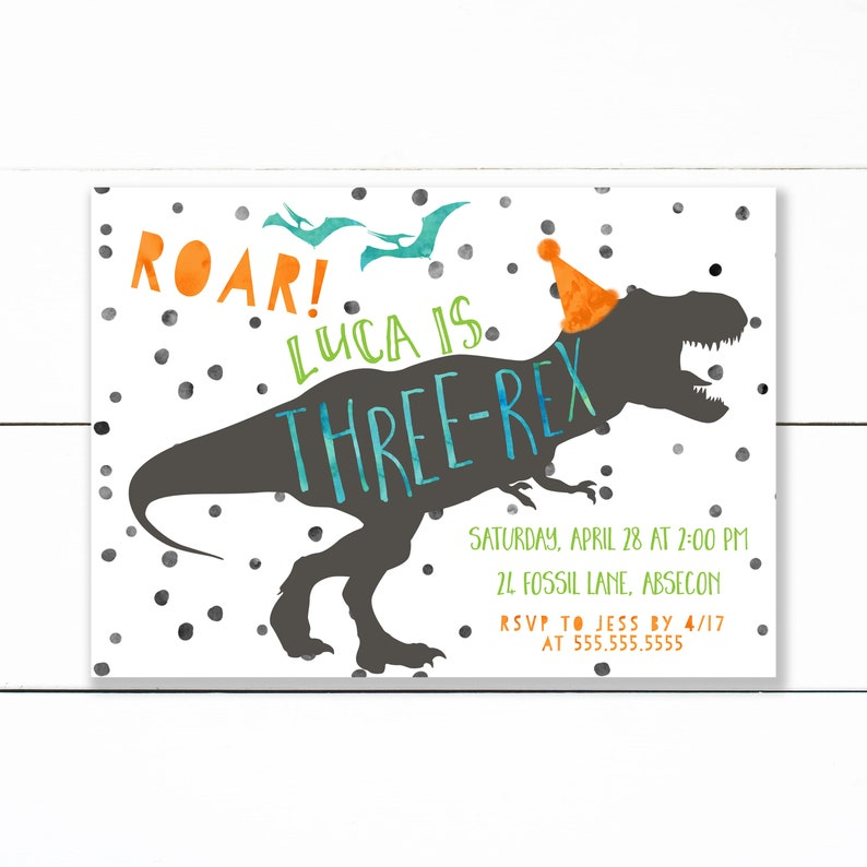 Dinosaur Birthday Invitation Invite T Rex