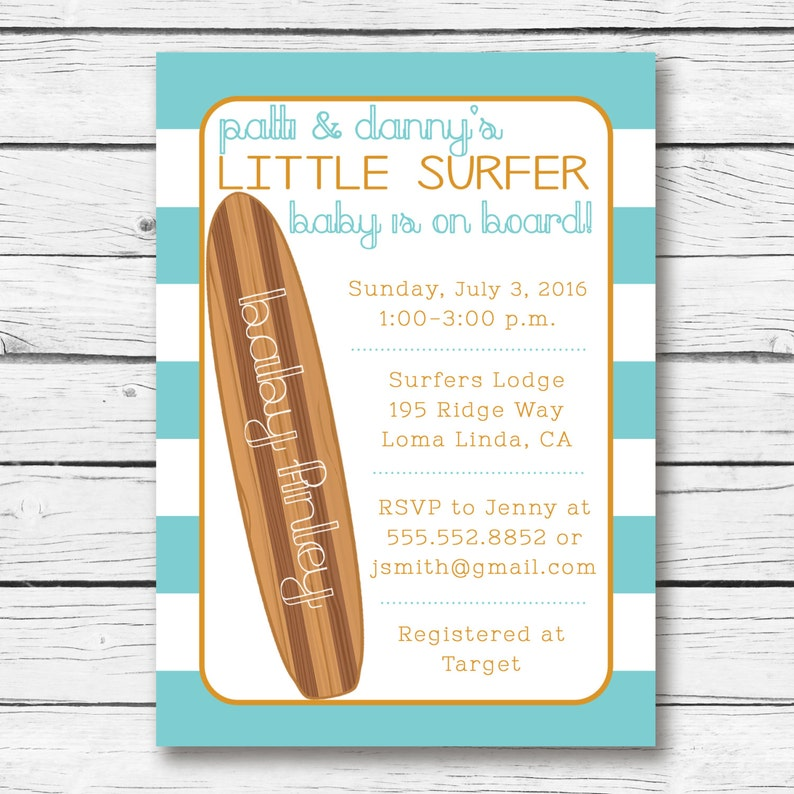 Baby On Board Shower Invitation Surfer Surf Invite Printable Digital File